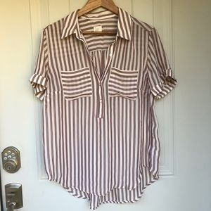 A New Day. Sheer striped blouse maroon and white